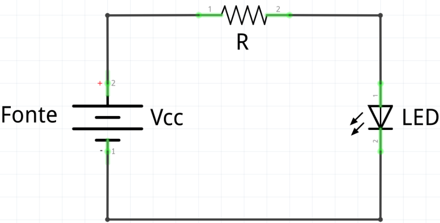 resistor e LED em série com uma fonte