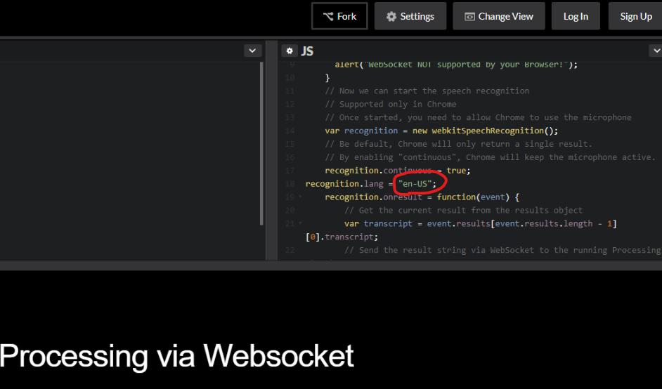 Página na web processing