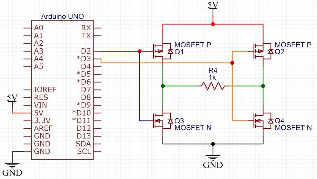 Circuito do Arduino com inversor de tensão