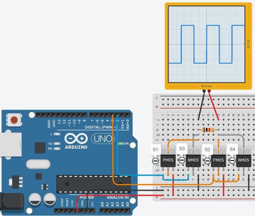 Inversor de Tensão com Arduino no Tinkercad