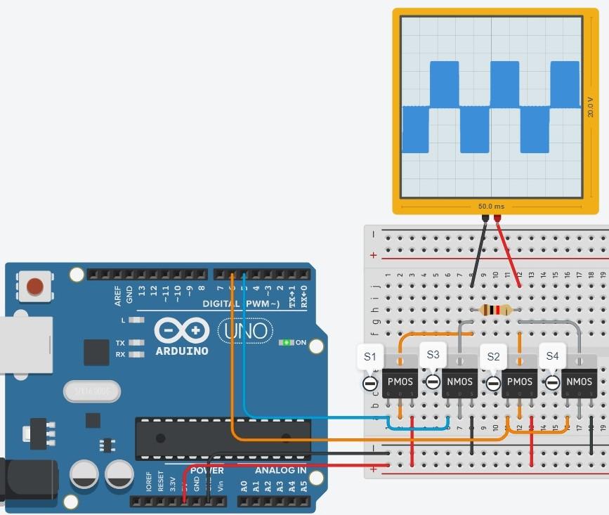 Inversor de Tensão com Arduino e PWM no Tinkercad