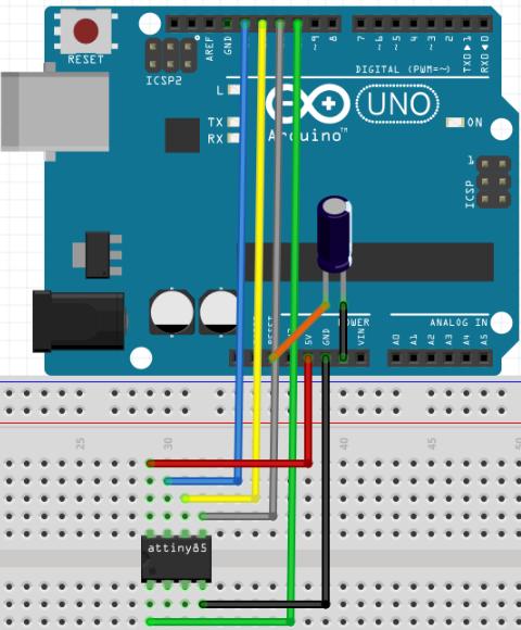 circuito para programar o attiny