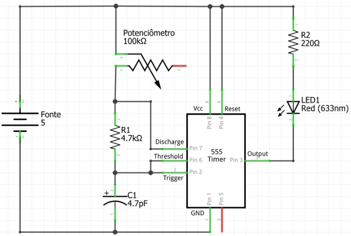 circuito luz estroboscópica com 555