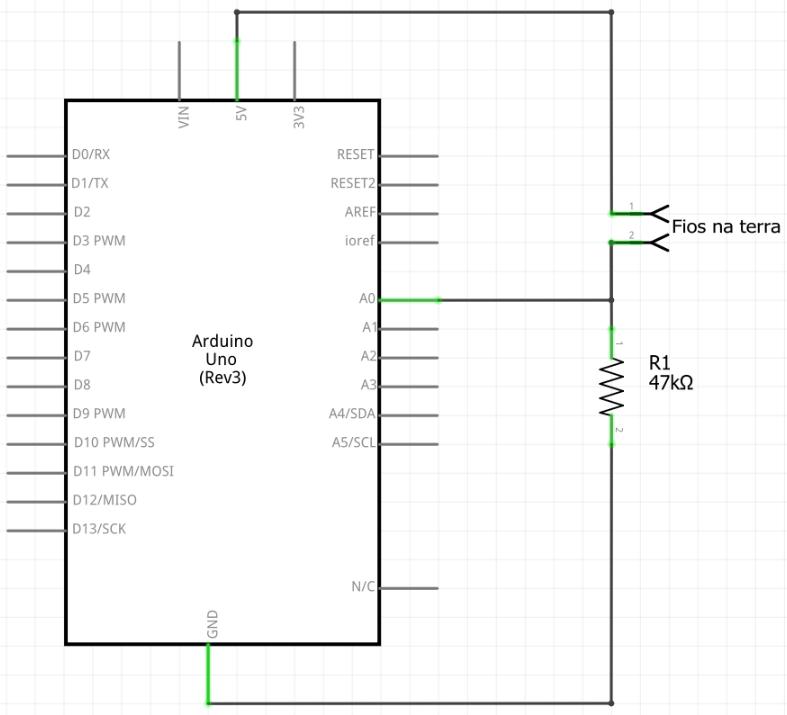 Circuito para medir umidade do solo com Arduino