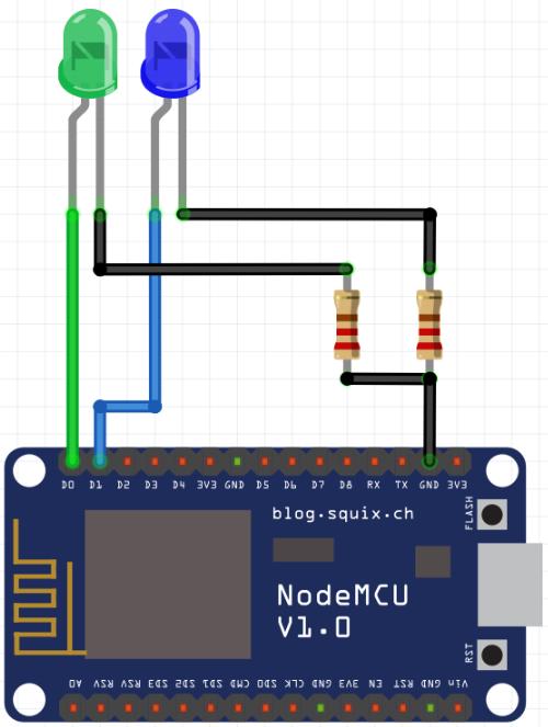 NodeMcu circuito para comutar dois LEDs