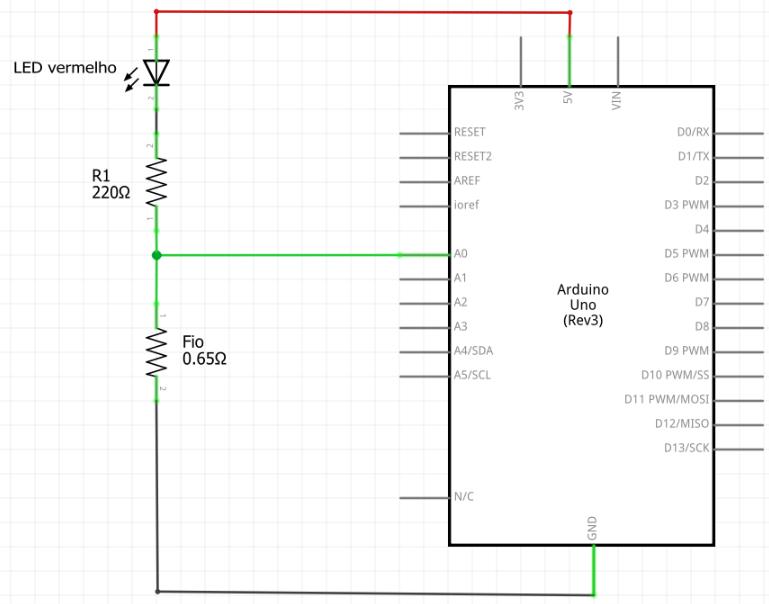 Esquemático amperímetro circuito com led