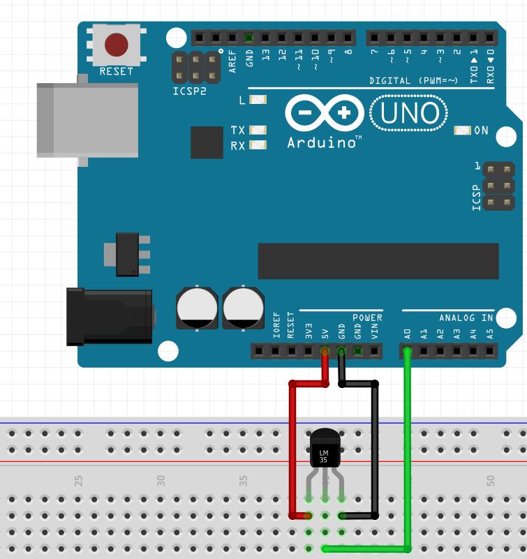 LM35 circuito com Arduino