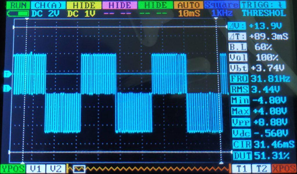 Sinal pwm onda quadrada com 3.17V de amplitude