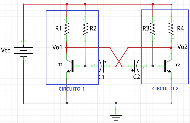Circuito multivibrador astável BJT