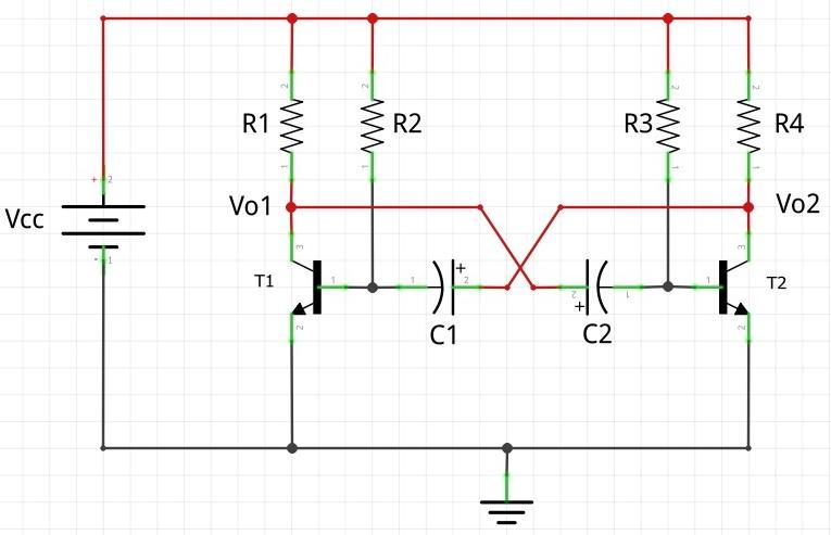 Circuito tipico multivibrador astavel BJT