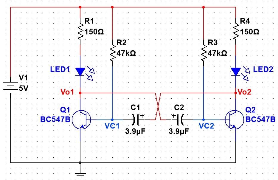 Circuito multivibrador astável com LED