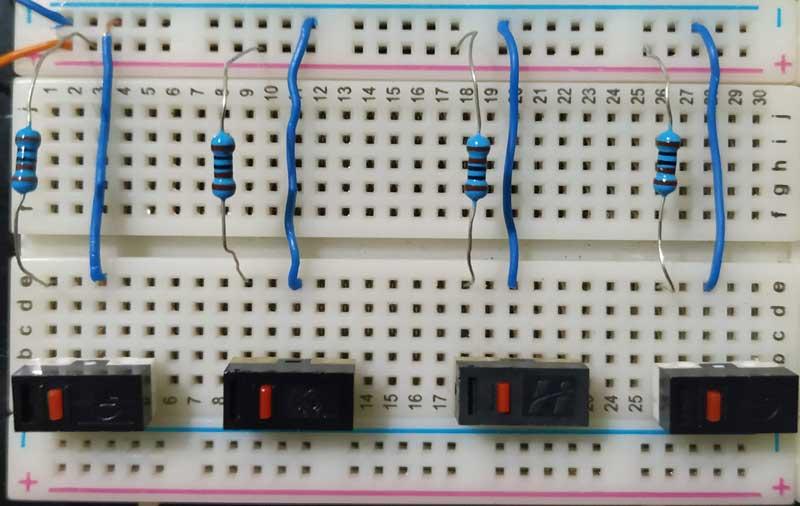 Disposição das entradas (botoes) do circuito combinacional