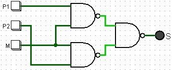 Universalidade das portas NAND e NOR circuito exemplo