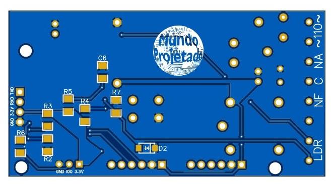 PCB com componentes SMD e PTH