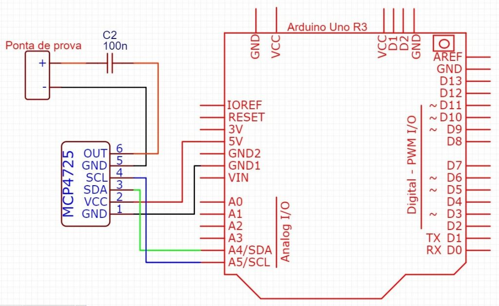 Circuito Arduino e MCP4725 com filtro passa-altas