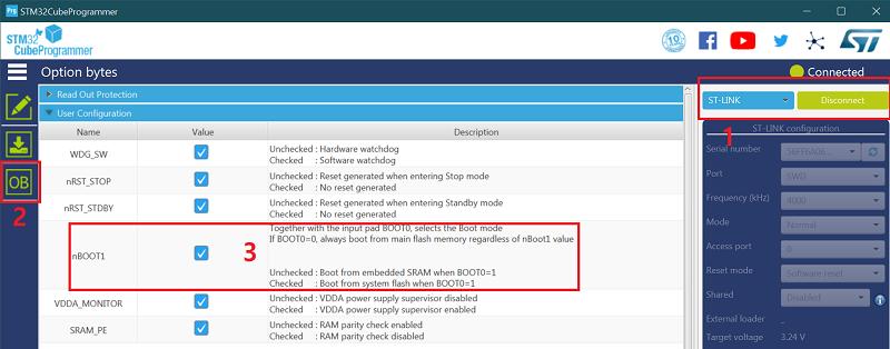 Option bytes do stm32