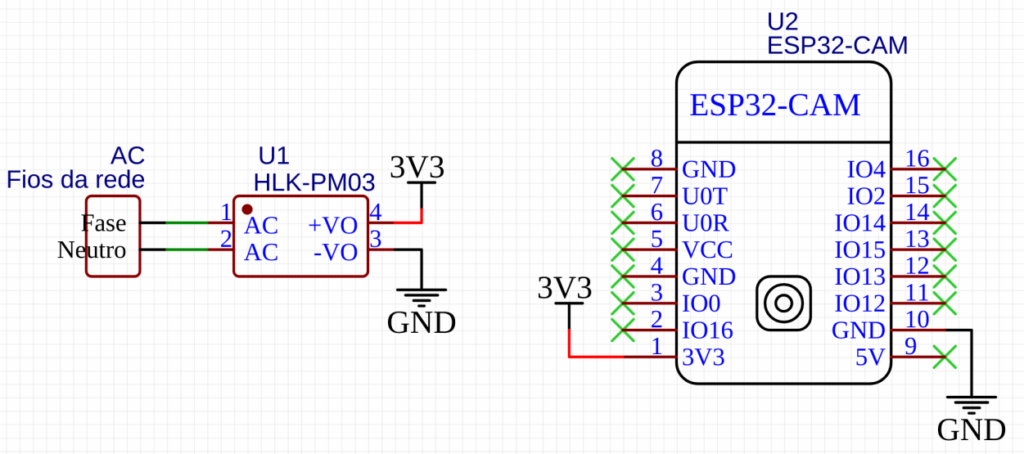 Esquemático do ESP32 ligado na rede
